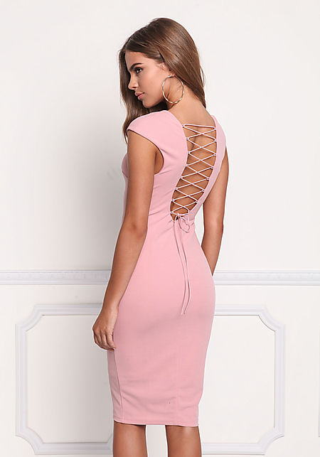 Mauve Back Lace Up Bodycon Dress