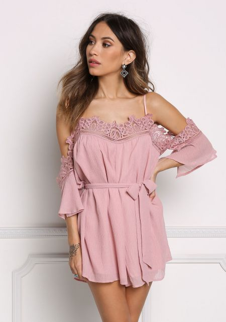 Mauve Embroidered Cold Shoulder Crepe Romper