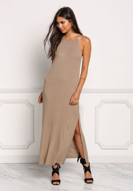 Taupe Ribbed Knit Maxi Slit Dress