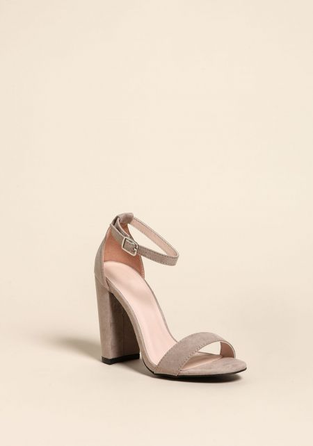 Taupe Suedette Ankle Strap Heels