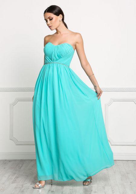 Jade Ruched Rhinestone Maxi Gown