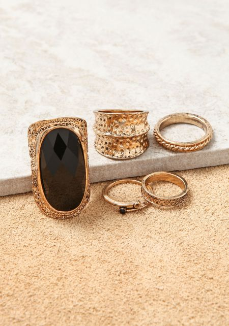 Gold Assorted Engraved Rings Set