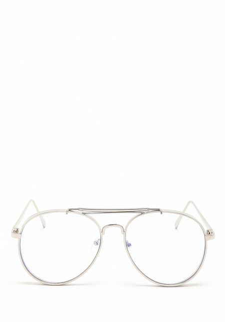 Silver Thick Frame Clear Aviator Glasses