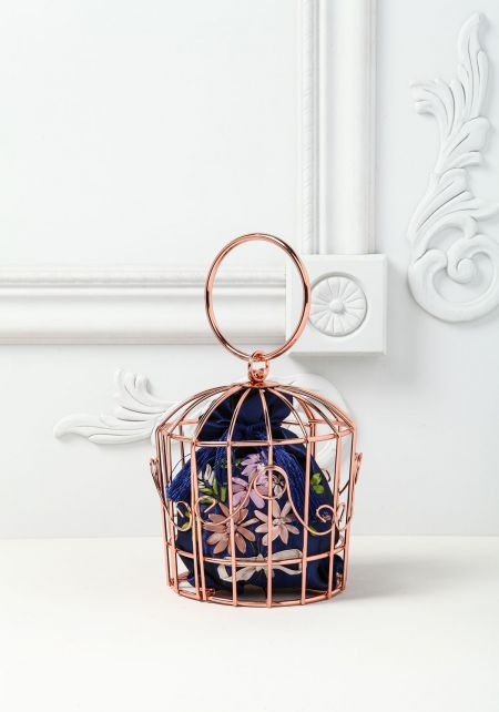 Rose Gold Bird Cage Clutch