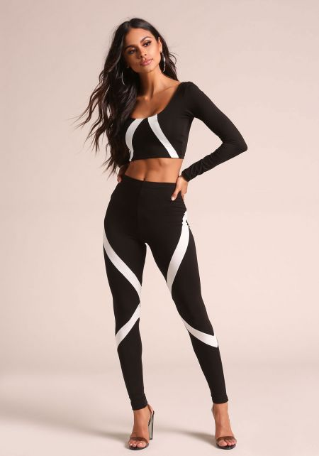 Black Color Block Stripe High Rise Leggings
