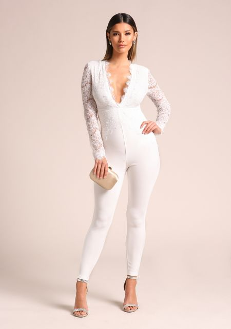 White Plunge Embroidered Lace Jumpsuit