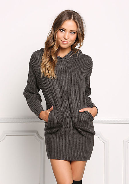 Charcoal Thick Knit Hooded Shift Dress