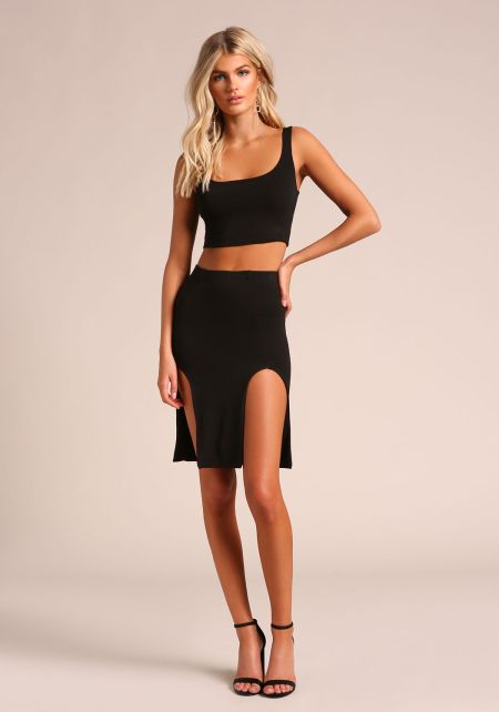 Black Two Slit High Rise Skirt