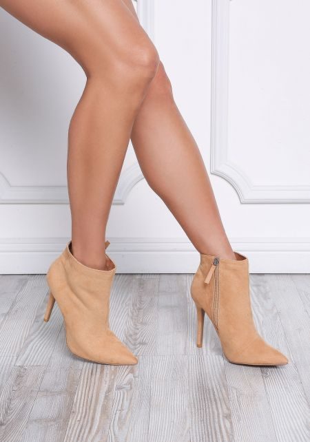 Toffee Suedette Pointed Toe Booties