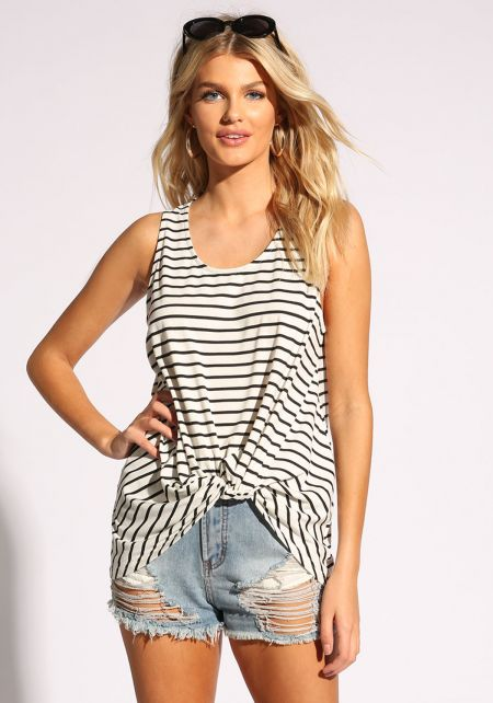 White and Black Stripe Twisted Tank Top
