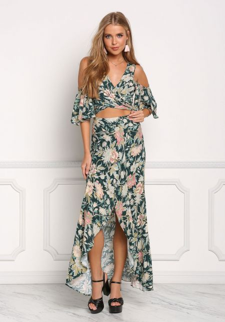 Multi Floral Slit Maxi Skirt