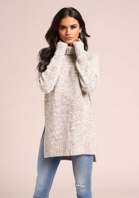 Taupe Turtleneck Marled Sweater Top