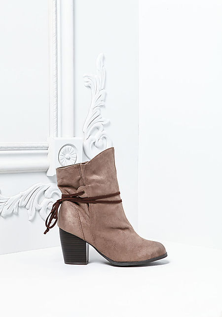 Taupe Suedette Strap Stacked Booties