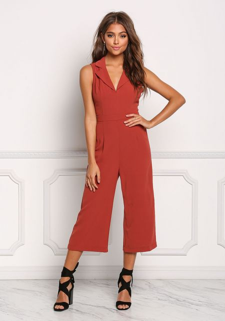 Brick Collared Cut Out Cropped Jumpsuit