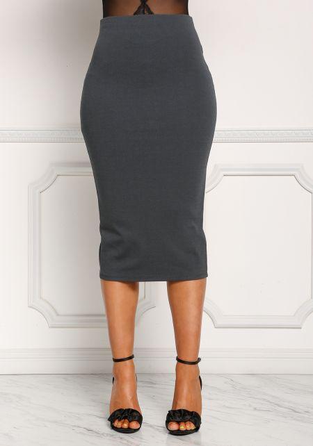 Charcoal High Rise Midi Skirt