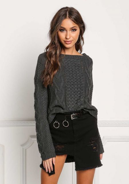Charcoal Cable Knit Hi-Lo Sweater