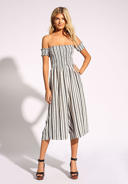 White and Black Stripe Palazzo Jumpsuit