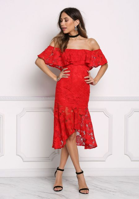Red Layered Embroidered Off Shoulder Dress
