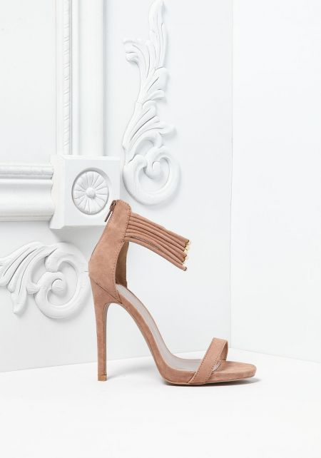 Taupe Suedette Multi Ankle Strap Heels