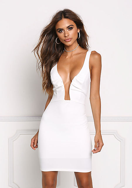 Ivory Ruched Plunge Bodycon Dress