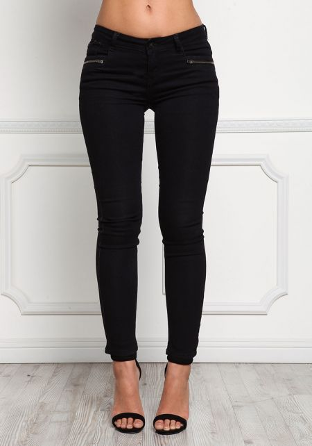 Black Two Zipper Low Rise Skinny Jeans