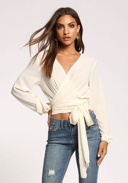 Ivory Puff Sleeve Wrap Crop Top