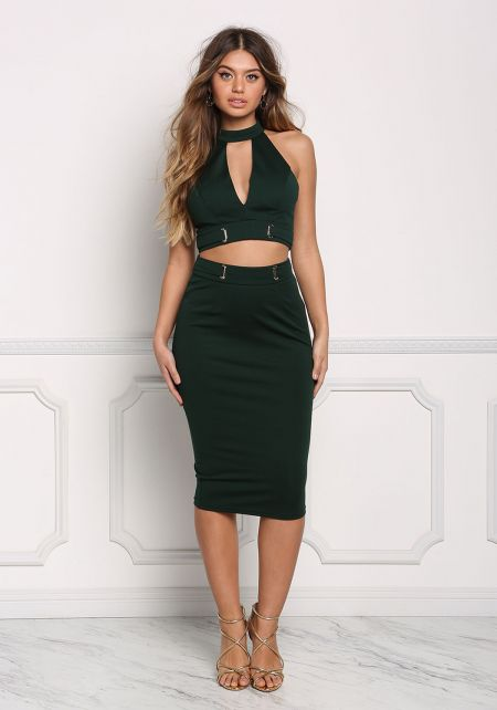 Hunter Green Cinched High Rise Solid Skirt