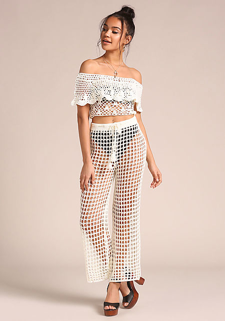 White Crochet High Rise Pants