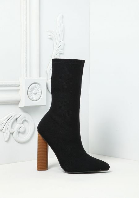 Black Pointed Sock Ankle Boots