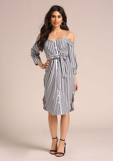 Black Off Shoulder Striped Shirt Dress