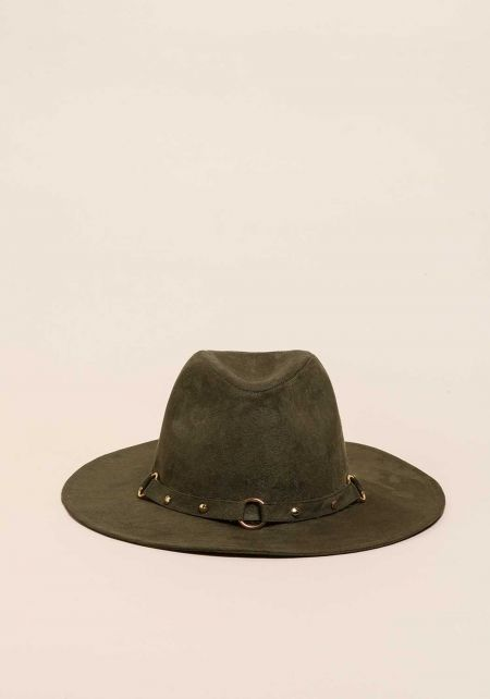 Olive Suedette Studded Floppy Hat
