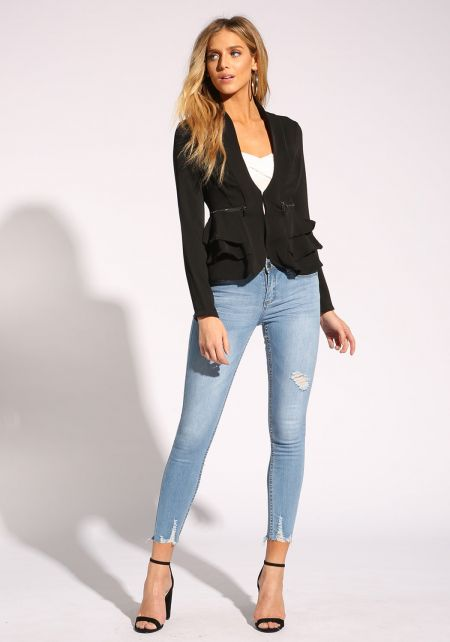 Black Tiered Peplum Blazer
