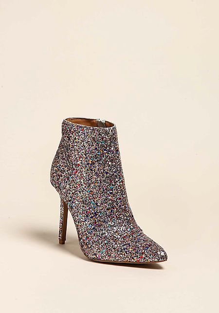 Silver Glitter Pointed Toe Booties