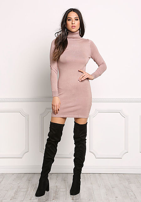 Blush Turtleneck Sleek Bodycon Dress