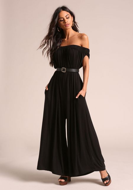 Black Off Shoulder Wide Legged Boxy Jumpsuit