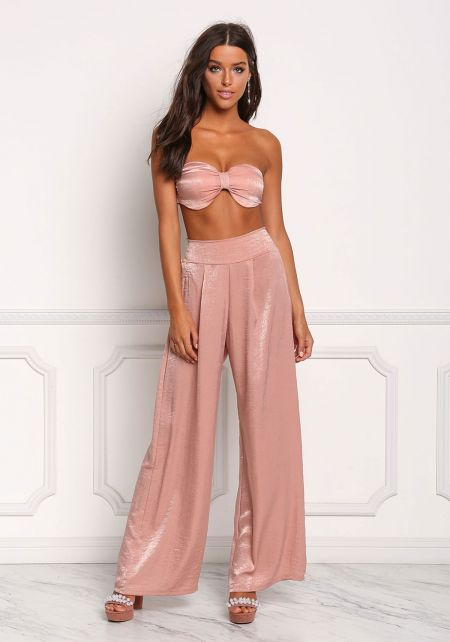 Rose Silky High Rise Palazzo Pants