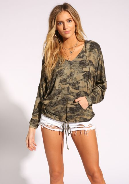Camouflage Pull Over Hooded Sweater