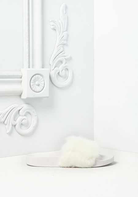 White Faux Fur Slide Sandals