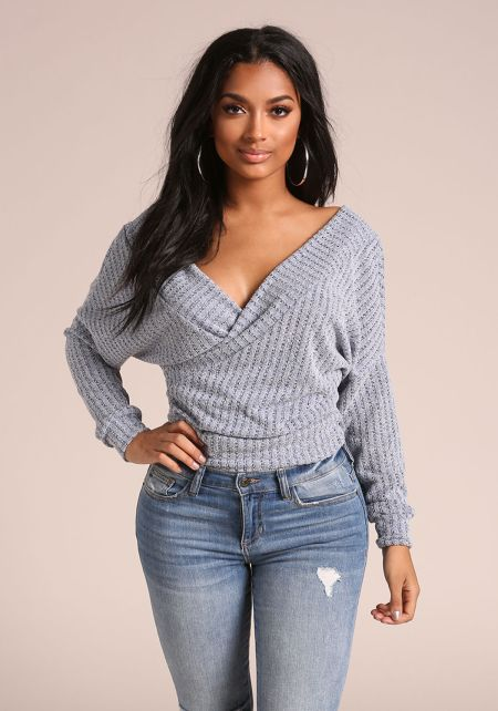 Blue Surplice French Terry Sweater Top