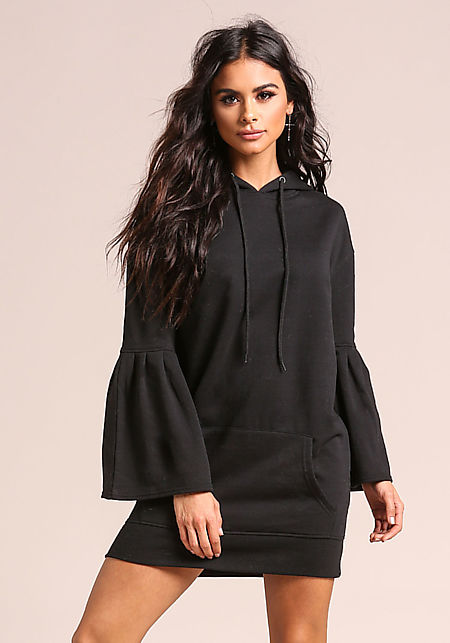 Black Bell Sleeve Hooded Tunic Sweater