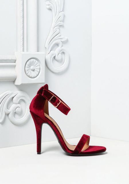 Burgundy Crushed Velvet Classic Ankle Strap Heels