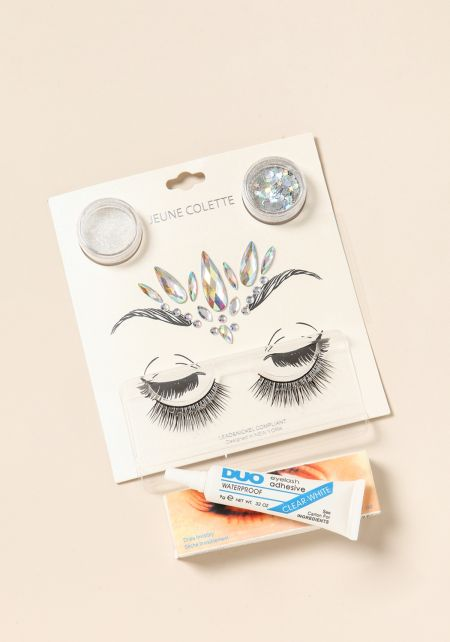 Multi Face Jewels Eyelashes & Glitter Set