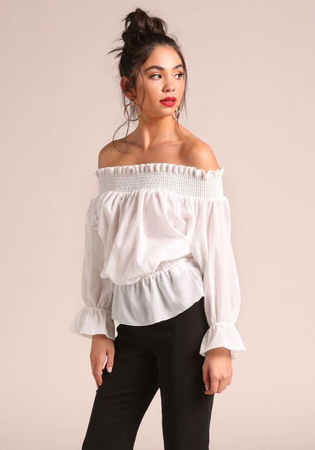 White Tie Back Puff Sleeve Off Shoulder Blouse