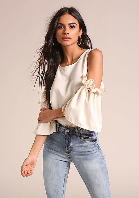 Cream Satin Cold Shoulder Puff Sleeve Blouse