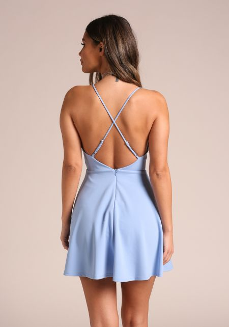 Sky Blue Back Cross Strap Flared Dress