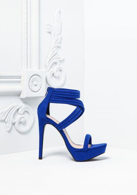 Royal Blue Suedette Multi Cross Strap Heels