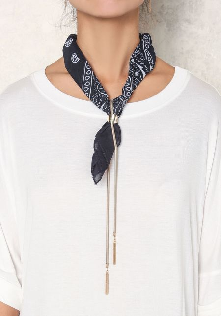 Navy Paisley Bandana Drop Necklace