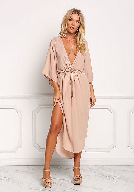 Blush Gauze Plunge Slit Maxi Dress