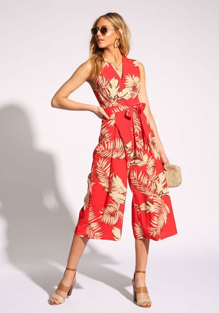 Red Tropical Leaf Cropped Palazzo Jumpsuit