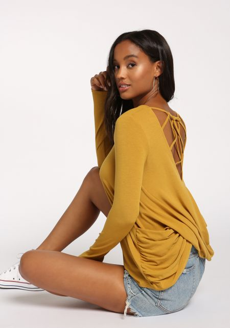 Mustard Back Caged Draped Knit Top